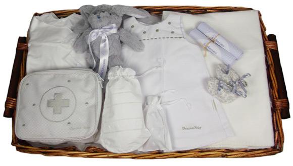 canastillas bebe en tonos gris y blanco