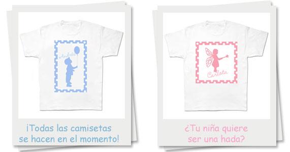 camisetas con los nombres de los niños