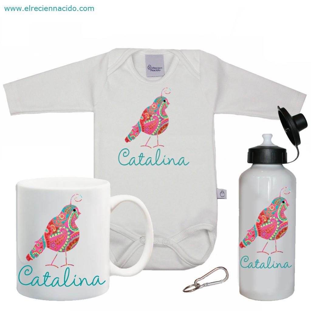 set regalo de tres piezas personalizadas termo, body y taza