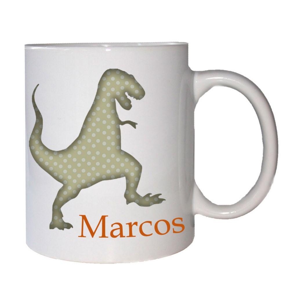 taza-infantil personalizada dinosaurio-marron
