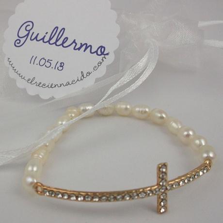 Detalles para invitados bautizo pulseras perlas cruz strass