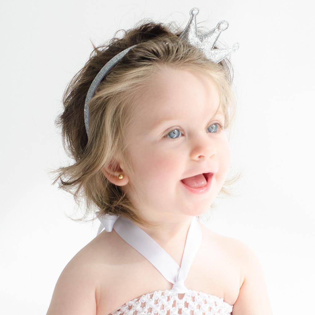 Diadema con corona de purpurina para niñas
