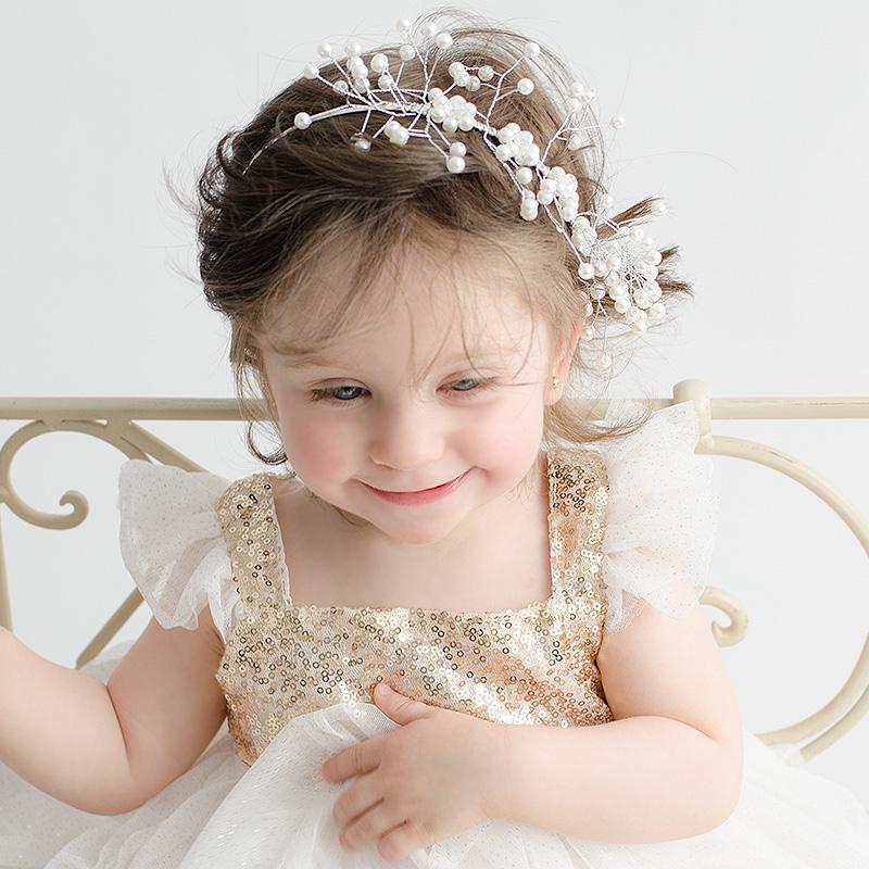 diadema perlas niñas pequeñas