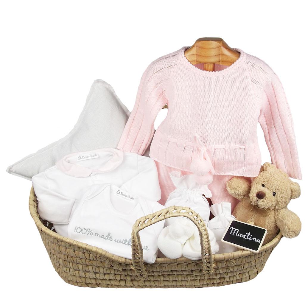 cesta recien nacido bebé niña