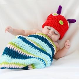 Disfraces bebés recién nacidos atrezzo sesiones fotos gusano El Recién Nacido