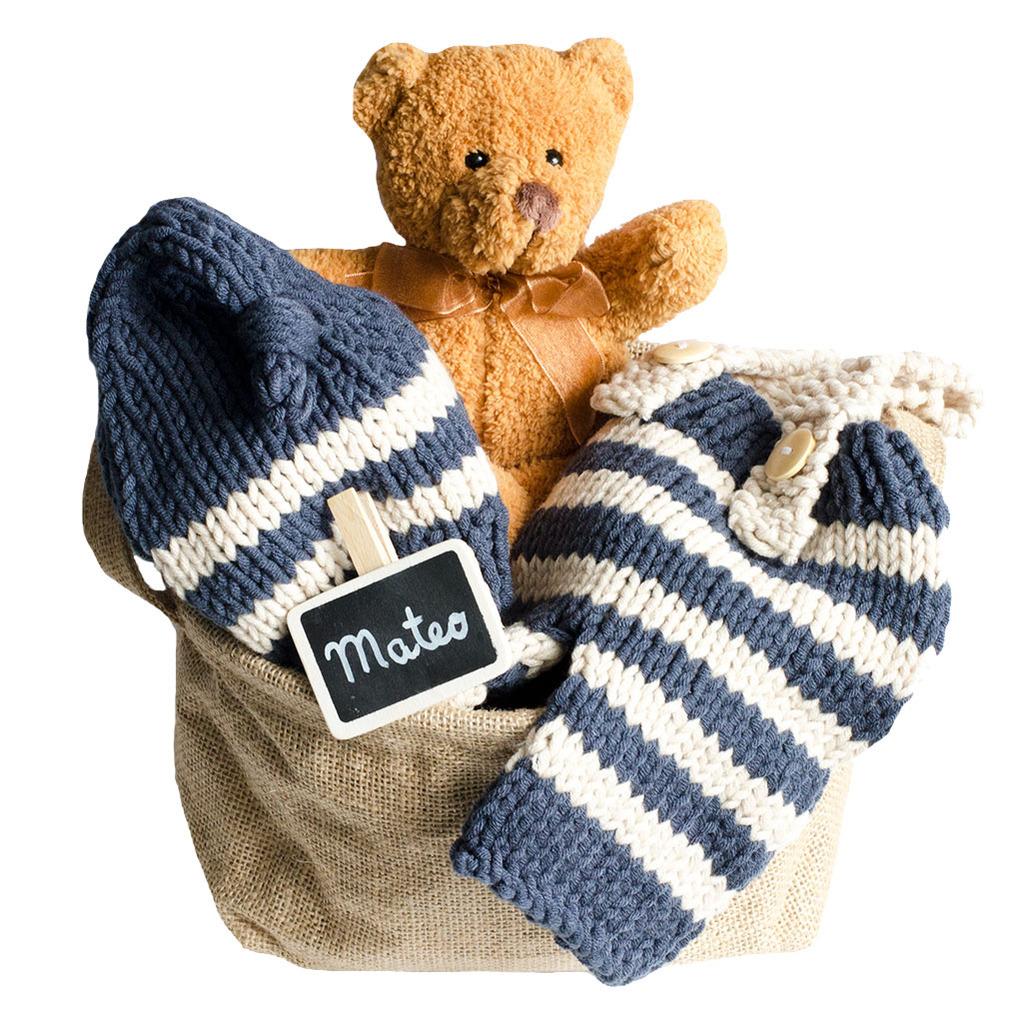 Cesta para bebés conjunto punto hecho a mano
