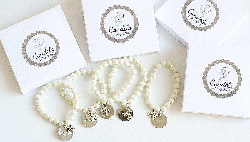 Comuni n pulsera de perlas personalizadas un bonito - Que regalar en un bautizo ...