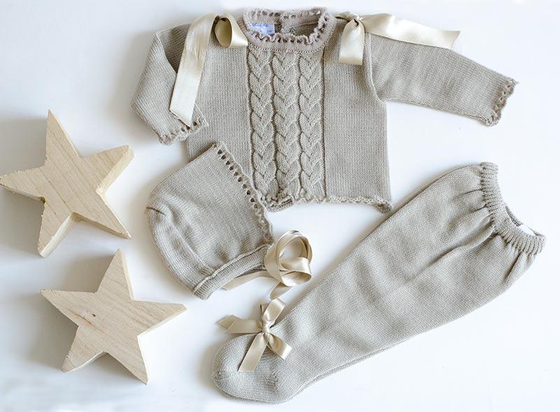 tres piezas punto para bebés