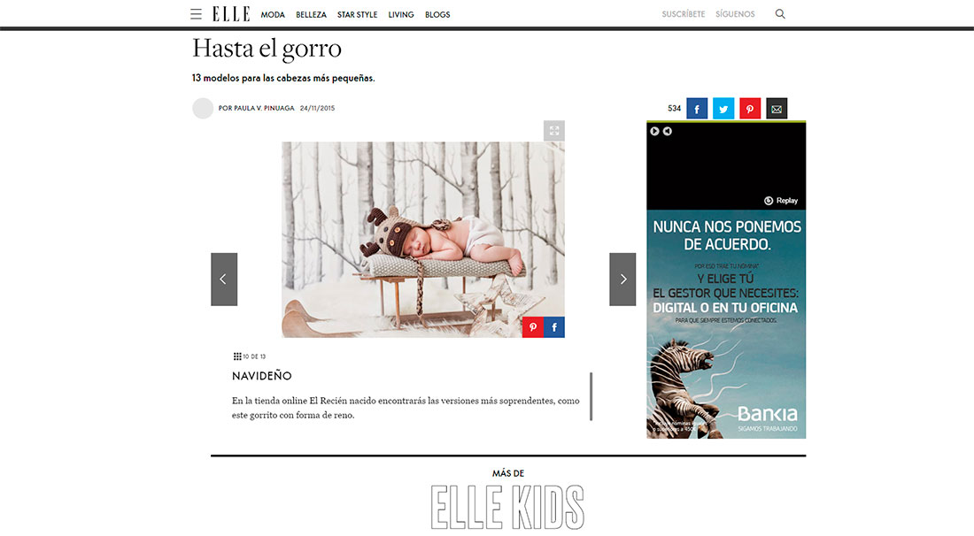 Gorritos divertidos en la revista ELLE