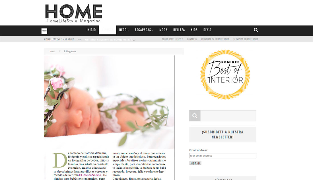 El Recien Nacido en home Lifestyle Magazine