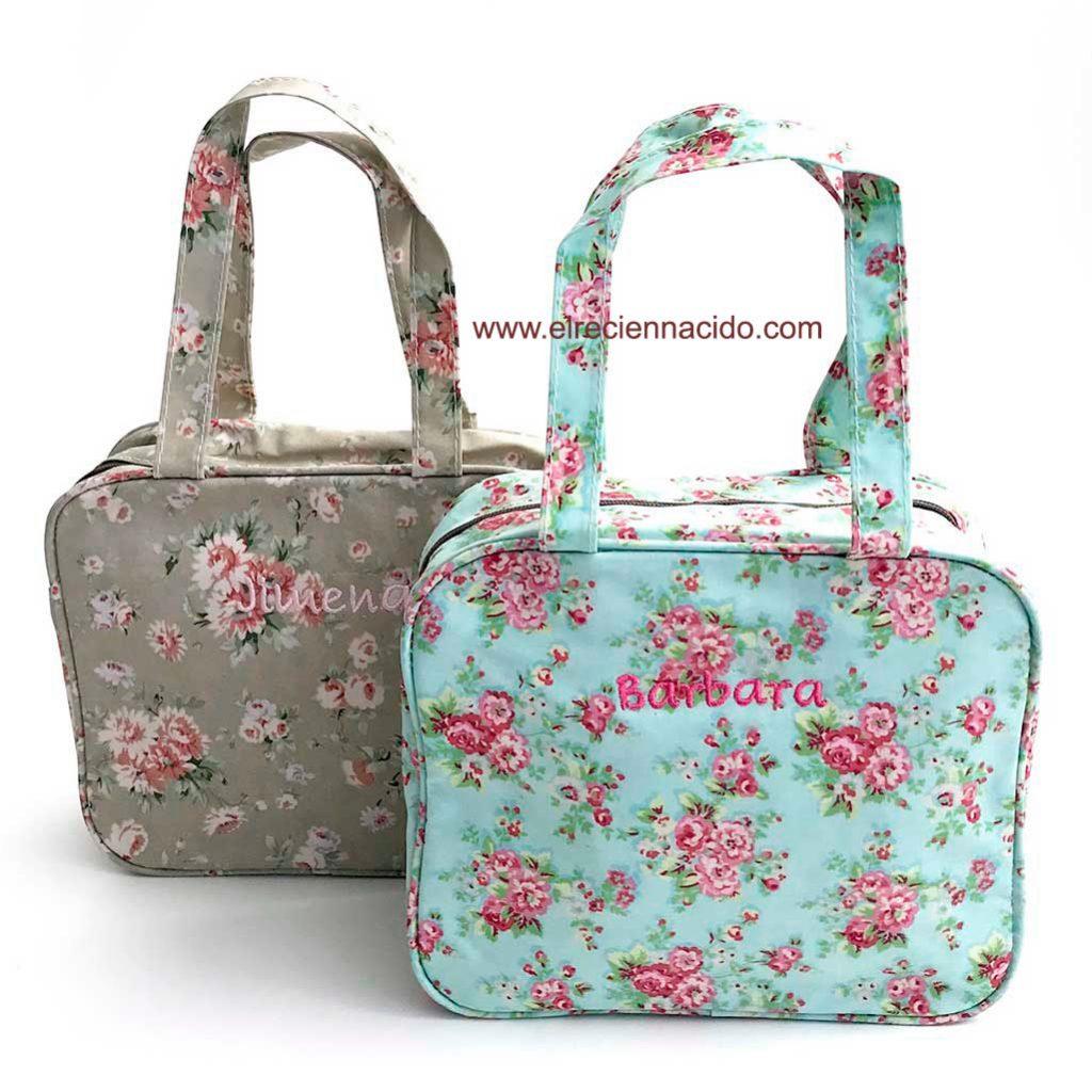 Bolsas de merienda personalizadas. Plastificada de flores en distintos colores.