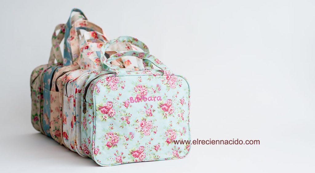 bolsa almuerzo personalizada con el nombre del bebé. Bolsas de flores en varios tonos