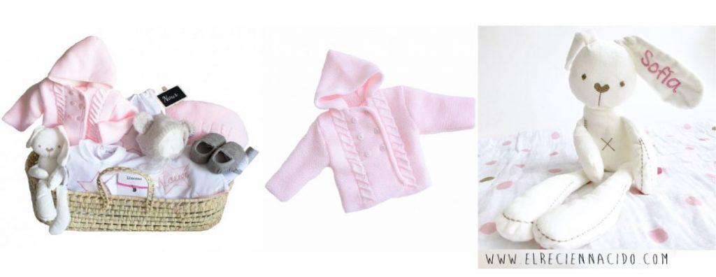Canastilla bebe niña con abrigo de punto rosa