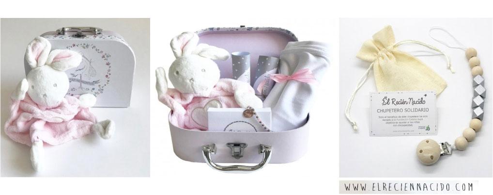 Canastilla bebe con maleta para niña