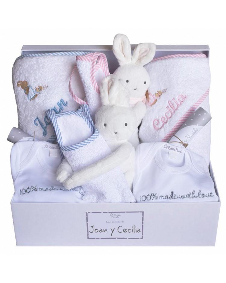 Canastilla gemelar para bebes mellizos